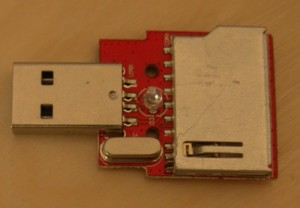 Ready for unsoldering: uncoated USB card reader PCB